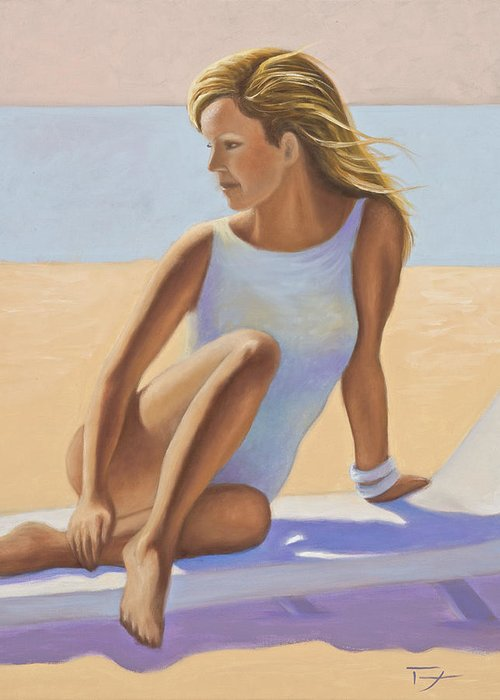 Original Oil Painting Greeting Card featuring the painting Sun Kissed by Catherine Tarbox
