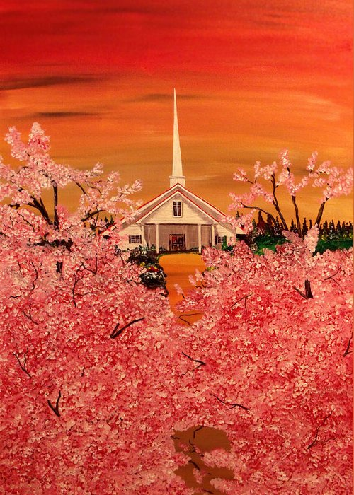 Church Greeting Card featuring the painting Sunday Morning by Mark Moore