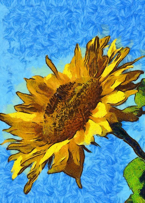 Sunflower Abstract Greeting Card featuring the digital art Sunflower Abstract by Unknown