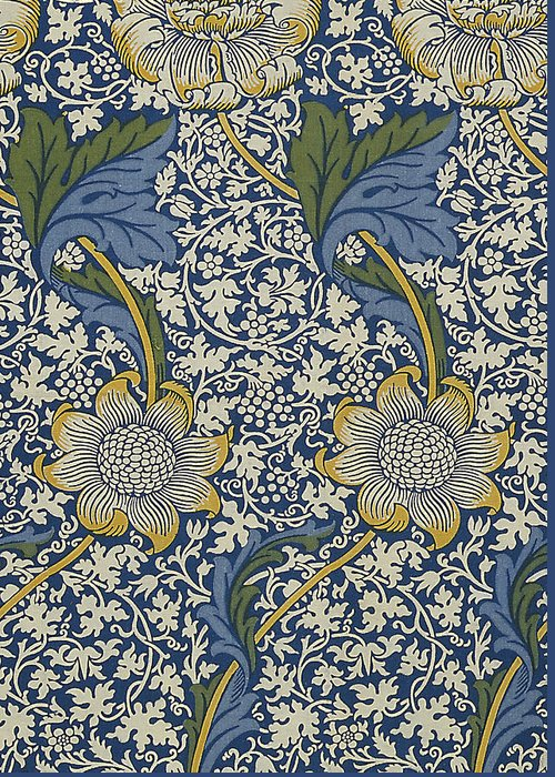 William Greeting Card featuring the tapestry - textile Sunflowers On Blue Pattern by William Morris