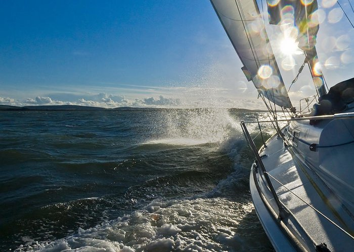 Sailing Greeting Card featuring the photograph Sunlit Bow Spray by Gary Eason