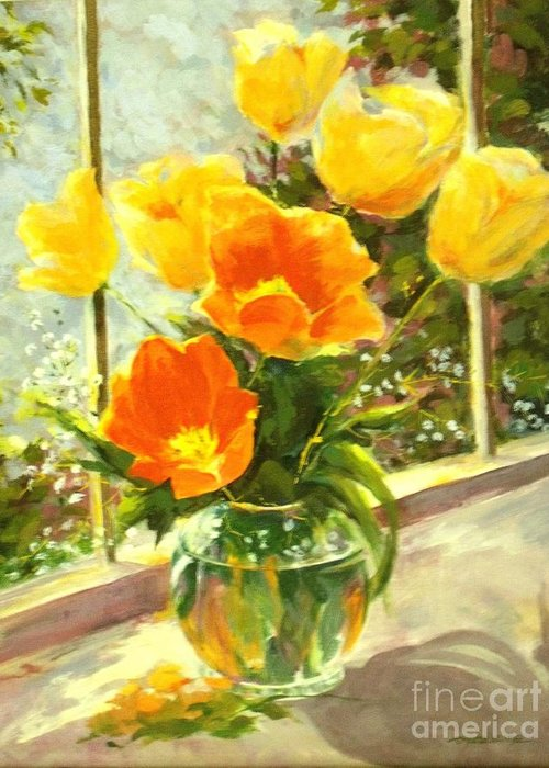 Canvas Prints Greeting Card featuring the painting Sunlit Tulips by Madeleine Holzberg