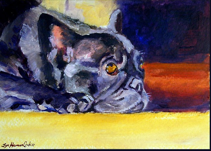 French Bulldog Greeting Card featuring the painting Sunny Patch French Bulldog by Lyn Cook
