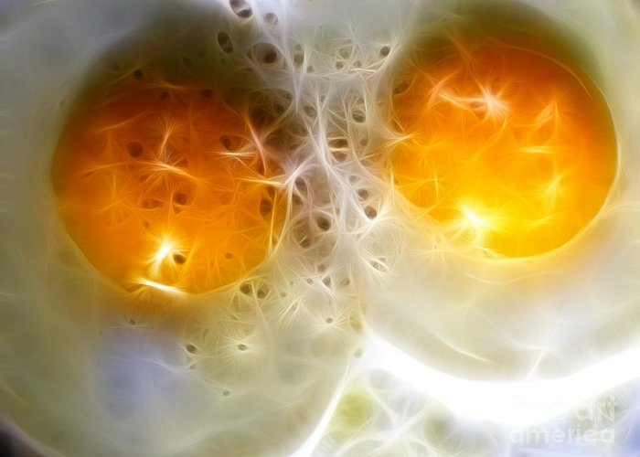 Breakfast Greeting Card featuring the photograph Sunny Side Up by Wingsdomain Art and Photography