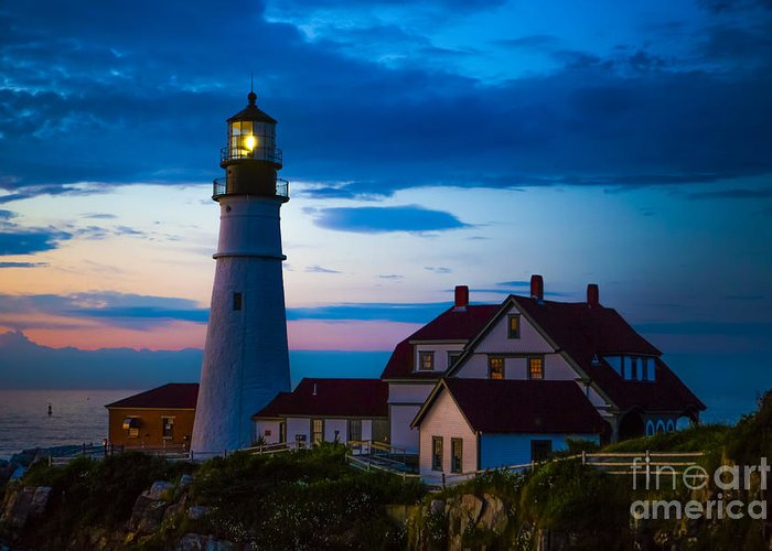 Lighthouse Greeting Card featuring the photograph Sunrise At Portland Head Lighthouse by Diane Diederich