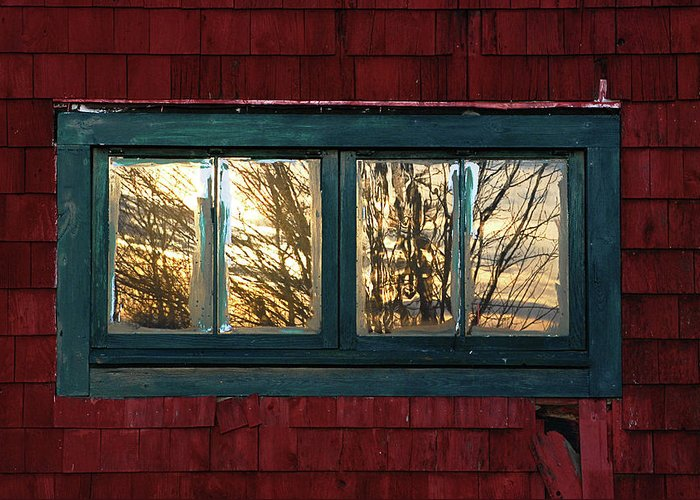 Barns Greeting Card featuring the photograph Sunrise In Old Barn Window by Susan Capuano