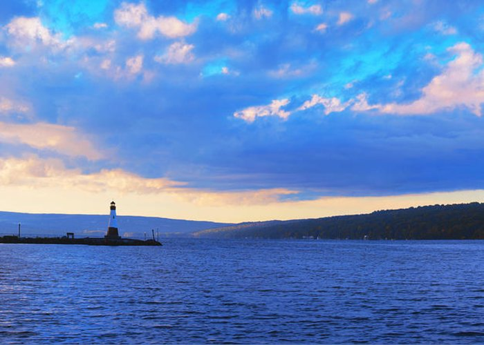Ithaca Greeting Card featuring the photograph Sunrise On Cayuga Lake Ithaca New York Panoramic Photography by Paul Ge