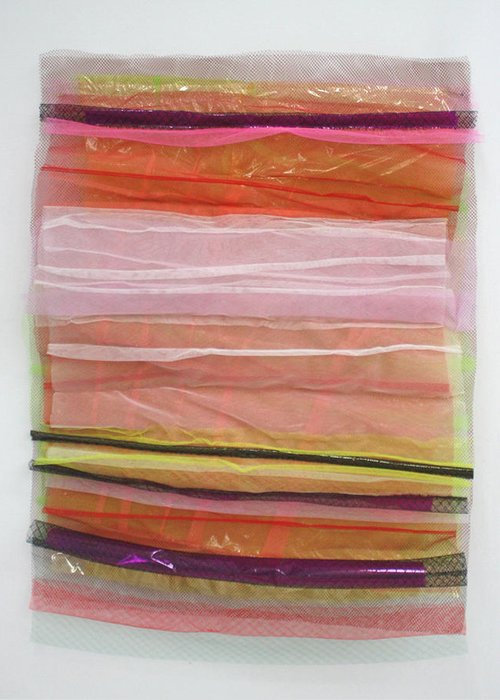 Abstract Greeting Card featuring the tapestry - textile Sunrise Sunset by Cathy Breslaw