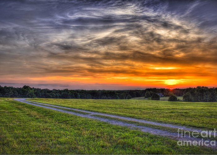 Reid Callaway Sunset Landscape Greeting Card featuring the photograph Sunset And The Road Home by Reid Callaway