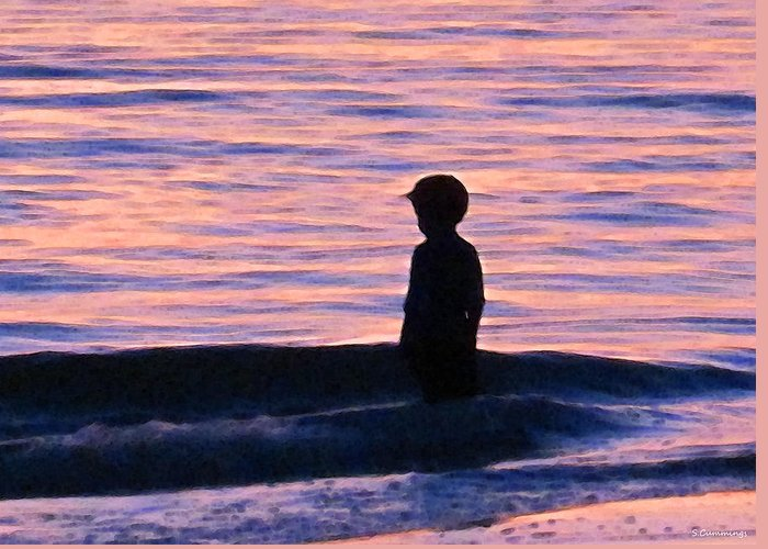 Children Greeting Card featuring the painting Sunset Art - Contemplation by Sharon Cummings