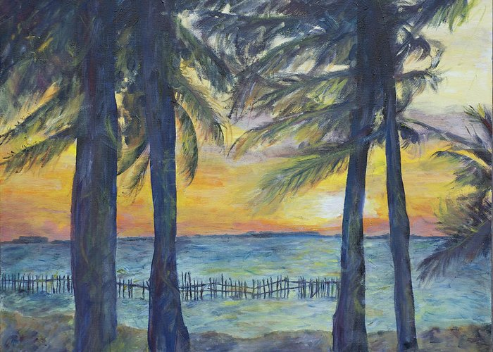 Palm Greeting Card featuring the painting Sunset At Buho's by Nick Vogel