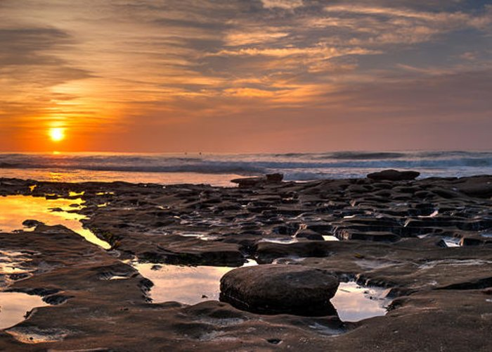 Beach Greeting Card featuring the photograph Sunset At The Tidepools II by Peter Tellone