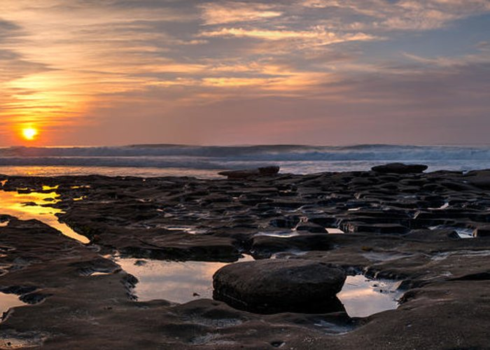 Beach Greeting Card featuring the photograph Sunset At The Tidepools IIi by Peter Tellone