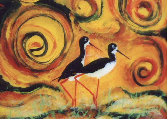Hawaii Birds Greeting Card featuring the painting Sunset Ballet by Anna Skaradzinska