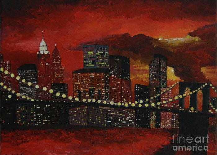 Modern Greeting Card featuring the painting Sunset In New York by Denisa Laura Doltu