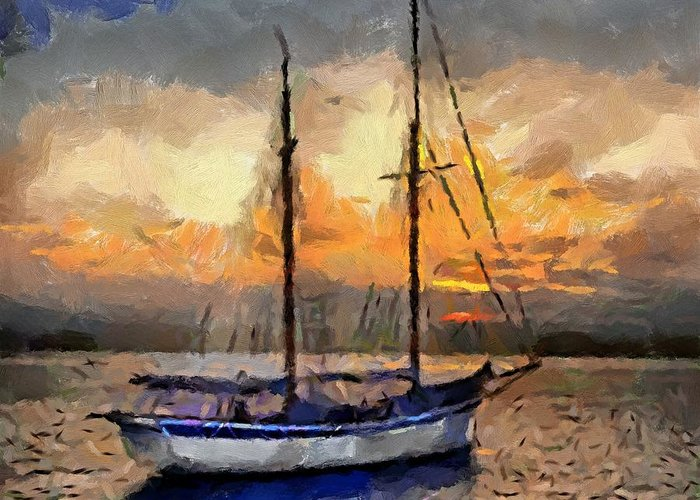 Landscapes Greeting Card featuring the painting Sunset In The Bay by Dragica Micki Fortuna