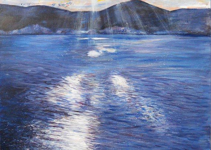 Landscape Greeting Card featuring the painting Sunset Near Myrtos Beach Kefalonia by Robina Osbourne