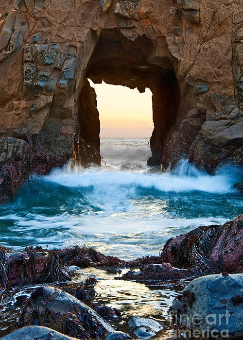 Arch Rock Greeting Card featuring the photograph Sunset On Arch Rock In Pfeiffer Beach Big Sur. by Jamie Pham