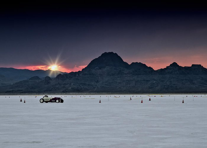 Bonneville Greeting Card featuring the photograph Sunset On The Salt Bonneville 2012 by Holly Martin