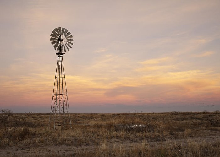 Windmill Greeting Card featuring the photograph Sunset On The Texas Plains by Melany Sarafis