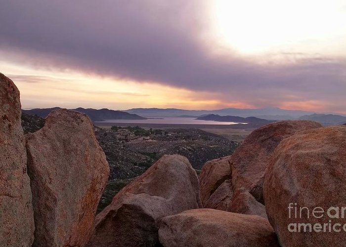 diamond Valley Lake Greeting Card featuring the photograph Sunset Over Diamond Valley Lake by Glenn McCarthy Art and Photography