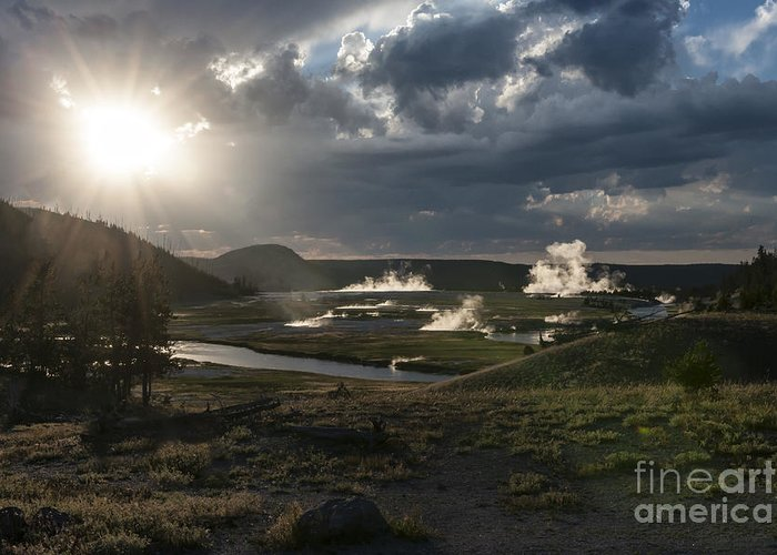 Landscape Greeting Card featuring the photograph Sunset Over The Firehole River - Yellowstone by Sandra Bronstein