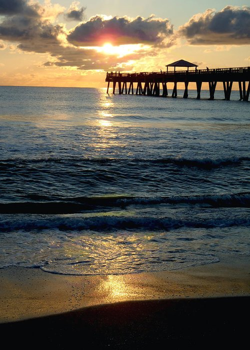 Pier Greeting Card featuring the photograph Sunset Pier by Carey Chen