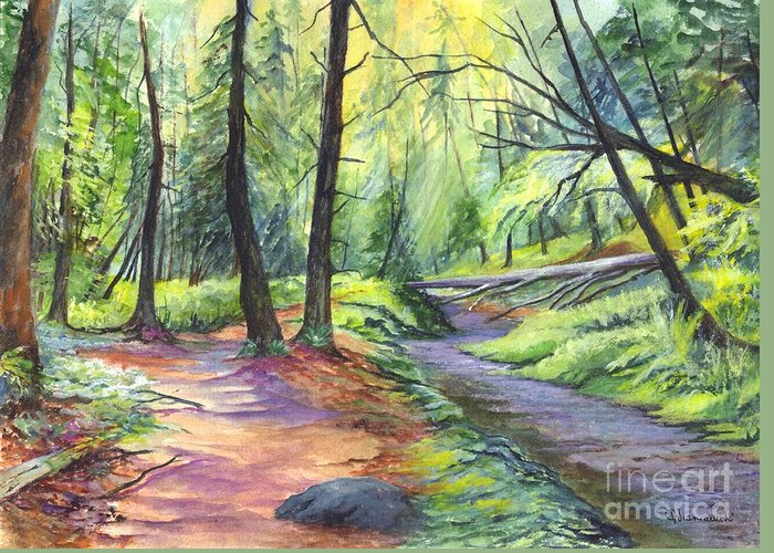 Woods Greeting Card featuring the painting Sunset Stroll by Carol Wisniewski