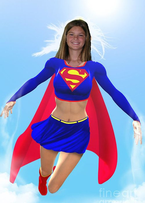 Superwoman Greeting Card featuring the drawing Super Nina by Allan Hughes