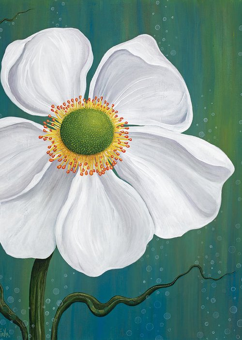 Floral Greeting Card featuring the painting Surfacing by Tanielle Childers