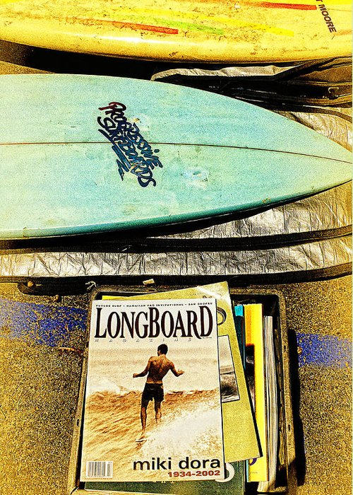 Progressive Surfboards Greeting Card featuring the photograph Surfboards And Magazines by Ron Regalado