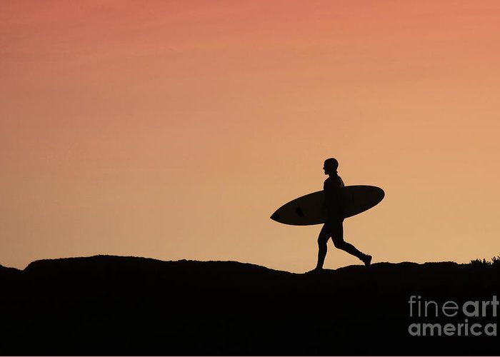 Surf Greeting Card featuring the photograph Surfer Crossing by Paul Topp