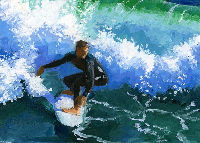 Surfer Greeting Card featuring the painting Surfin' Huntington Beach Pier by Alice Leggett