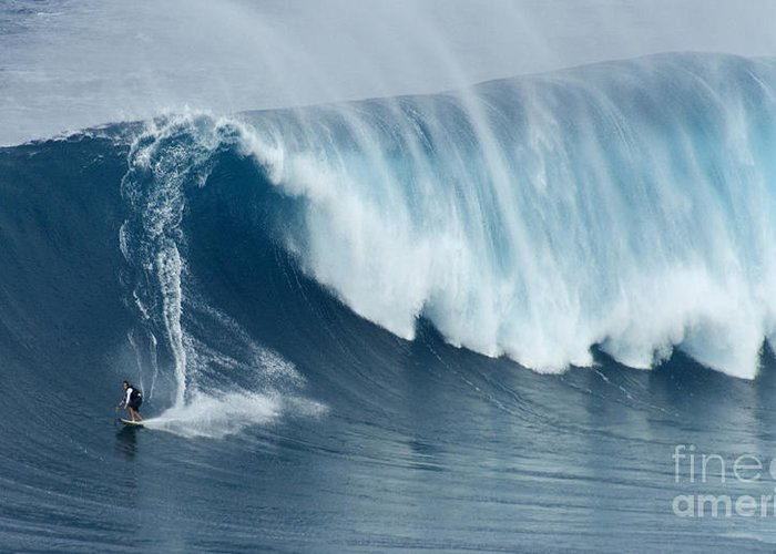 Surf Greeting Card featuring the photograph Surfing Jaws 5 by Bob Christopher