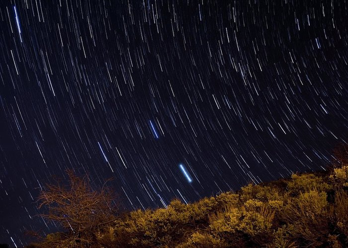 Surprise Trailhead Greeting Card featuring the photograph Surprise Trailhead Startrails by Benjamin Reed