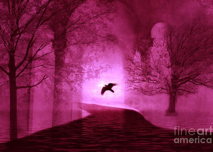 Ravens Crows In Nature Greeting Card featuring the photograph Surreal Fantasy Gothic Raven Crow Nature by Kathy Fornal