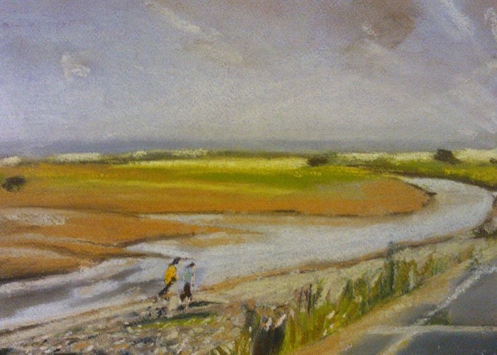 Brook Greeting Card featuring the pastel Swalecliffe Brook by Paul Mitchell