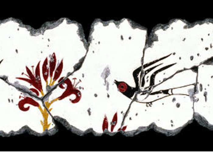Swallows Greeting Card featuring the painting Swallows With Lilies No. 5 by Steve Bogdanoff