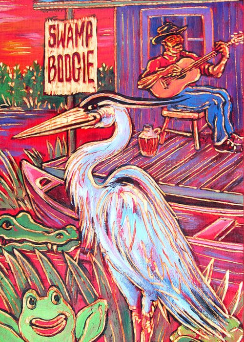 Blues Greeting Card featuring the painting Swamp Boogie by Robert Ponzio