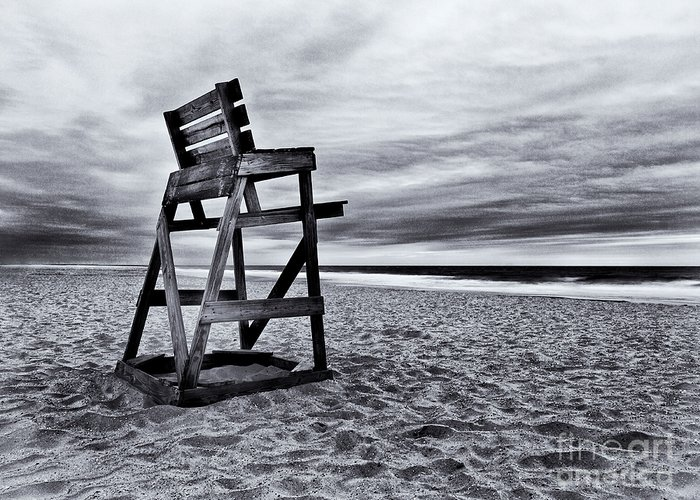 Life Guard Chair Greeting Card featuring the photograph Swim At Your Own Risk by Mark Miller