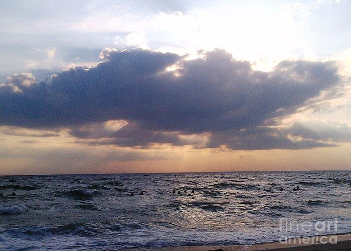 Cape Cod Greeting Card featuring the photograph Swim Before Storm by Patrick Mancini