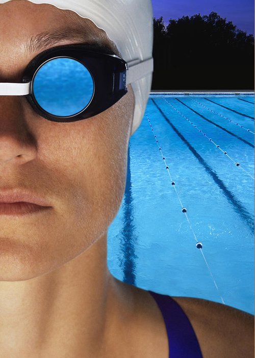 Compete Greeting Card featuring the photograph Swimmer With Goggles by Don Hammond