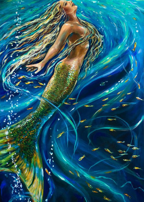 Mermaid Greeting Card featuring the painting Swimming To The Surface by Linda Olsen