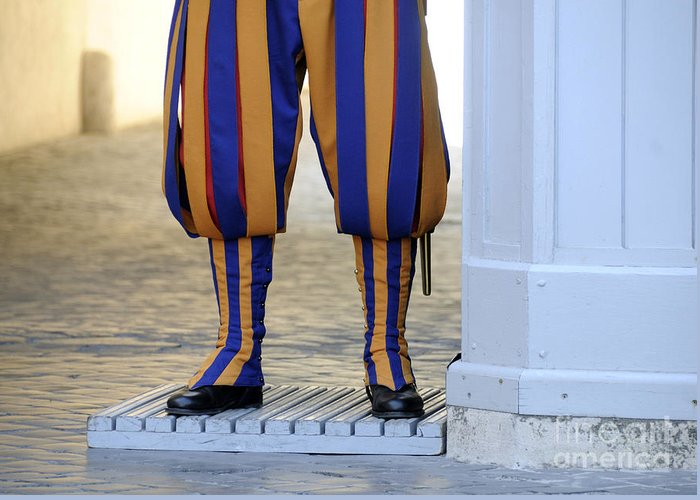 People Greeting Card featuring the photograph Swiss Guards. Vatican by Bernard Jaubert