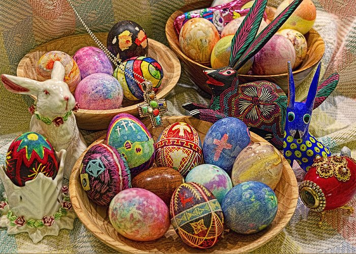 Easter; Cross; Crosses; Crucifixion; Jesus Christ; Jesus; Christ; Christian; Holiday; Holidays; Spiritual; Secular; Symbol; Symbols; Symbolism; Symbolic; Rabbit; Rabbits; Bunny; Bunnies; Easter Bunny; Egg; Eggs; Dyed; Colored; Decorated; Pysanka; Ukrainian; Mexican; Folk Art; Porcelain; Bowl; Bowls; Turned Bowl; Turned Bowls; Wooden Bowl; Wooden Bowls;spiritual;secular;photograph;photographs;photography;gary Holmes;gary; Holmes;horizontal Format;landscape;long Exposure;hdr Greeting Card featuring the photograph Symbols Of Easter- Spiritual And Secular by Gary Holmes
