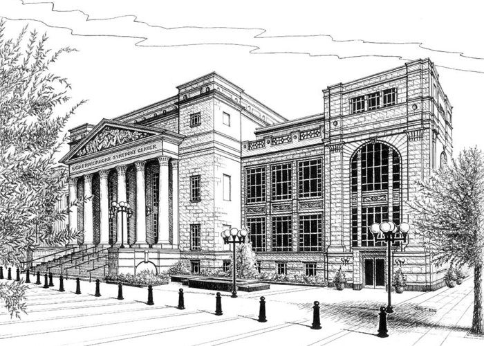 Architecture Greeting Card featuring the drawing Symphony Center In Nashville Tennessee by Janet King