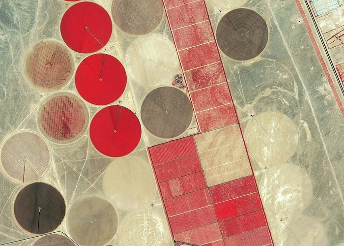 Africa Greeting Card featuring the photograph Tadco Farm Saudi Arabia Satellite by GeoEye