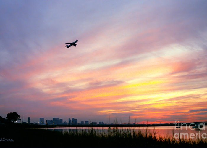 Landscapes Greeting Card featuring the photograph Take Off At Sunset In 1984 by Michelle Wiarda
