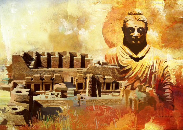 Pakistan Greeting Card featuring the painting Takhat Bahi Unesco World Heritage Site by Catf