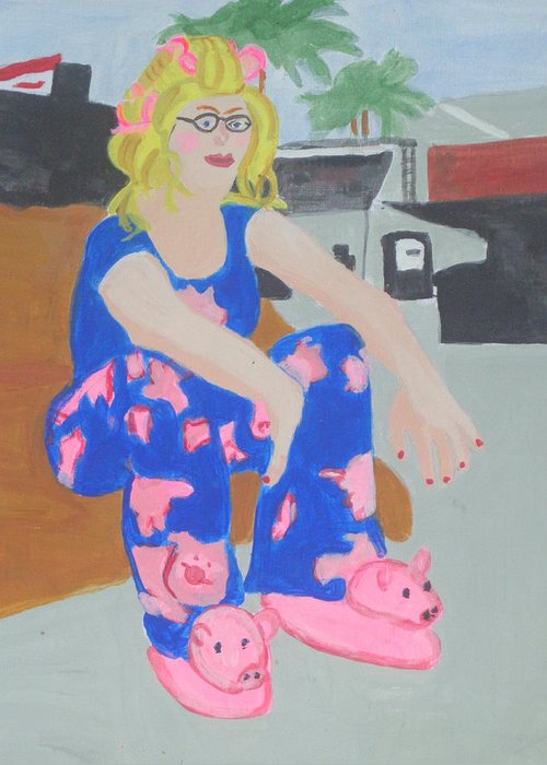 Pajamas Greeting Card featuring the painting Taking A Break by Olivia Hoff